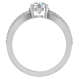 Magnificent Solitaire Round Diamond Trio Split Shank Engagement Ring 1.40 ctw 18K Gold (G,SI) - White Gold