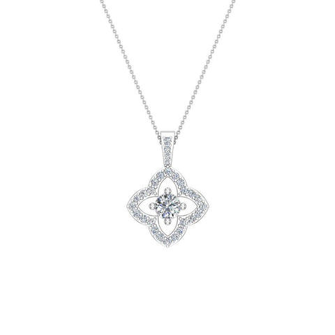 Floral Pattern Diamond Necklace 14K Gold (I,I1) - White Gold