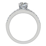 Two Row Princess Solitaire Diamond Engagement Ring Set 14K Gold (G,SI) - White Gold