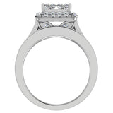 Princess Cut Quad Halo Wedding Ring Set w/ Enhancer Bands Bridal 18K Gold (G,VS) - White Gold