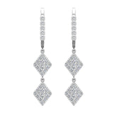 Kite Diamond Dangle Earrings Dainty Drop Style 18K Gold 1.14 ctw (G,VS) - White Gold