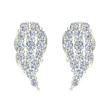 Angel Wing Pave Diamond Cluster Stud Earrings 0.50 ctw 18K Gold (G,VS) - White Gold
