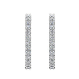 Exquisite 25.99 mm Diameter Inside Out Diamond Hoop Earrings 1.90 ctw 18K Gold Shared Prong Setting (G,SI) - White Gold