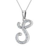 Initial Necklace S Letter charms Diamond pendant necklace 18K Gold (G,VS) - White Gold