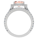 Cushion Cut Pink Morganite Halo Engagement Ring Set w/ enhancer bands 14K Gold (I,I1) - White Gold