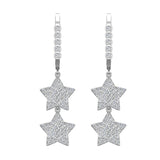 Star Diamond Dangle Earrings Dainty Drop Style 18K Gold 1.78 ctw (G,VS) - White Gold