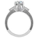 Moissanite Engagement Ring for Women 7.30 mm 4.85 carat Past Present Future Style 14K Gold (G,SI) - White Gold