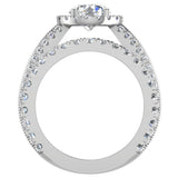 Moissanite Wedding Ring Set for Women 14K Gold Real Diamond accented Ring Channel Set 5.55 carat tw (G,SI) - White Gold