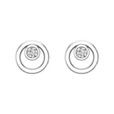 Diamond Earrings Circle Shape Studs Bezel Settings 10K Gold (J,SI2-I1) - White Gold