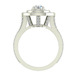 Statement Round Diamond Double Halo Split Shank Engagement Ring 1.77 ctw 14K Gold (I,I1) - White Gold