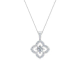 Floral Pattern Diamond Necklace 14K Gold (G,SI) - White Gold