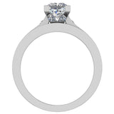 Princess Diamond Cathedral  Accent Engagement Ring Set in 14K Gold (G,I1) - White Gold