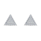 Triangle Shape Pave Diamond Stud Earrings 1/2 ctw 18K Gold (G,VS) - White Gold