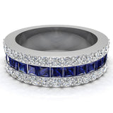 Mens Wedding Rings Blue Sapphire Gemstones rings 14K Gold  Diamond Ring 2.97 carat tw - White Gold