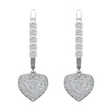 Heart Diamond Dangle Earrings Dainty Drop Style 14K Gold 0.75 ctw (I,I1) - White Gold