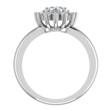 Classic Floral Halo Diamond Engagement Rings Round brilliant diamond ring 14K Gold 1.30 carat (H,SI) - White Gold