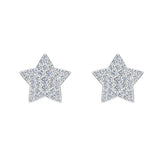 Star Shape Diamond Cluster Stud Earrings 0.50 ctw 18K Gold (G,VS) - White Gold