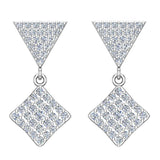 Square Diamond Dangle Earrings 14K Gold 0.80 ctw (G,SI) - White Gold