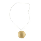 "Sterling Satin Goldtone Medallion with 28"" Beaded Necklace"