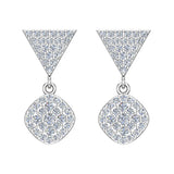 Cushion Diamond Dangle Earrings 14K Gold 0.80 ctw (G,SI) - White Gold