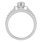Round Brilliant Cut Halo Diamond Engagement Ring Set 14K Gold (G,SI) - White Gold