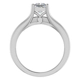 Princess Cut Adjustable Band Engagement Ring Set 14K Gold (G,SI) - White Gold