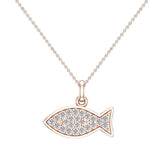 18K Gold Fish Pendant 0.27 ct tw Pave-set Diamond Charm (G,VS) - Rose Gold