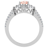 Engagement Ring for Women Oval Pink Morganite Double Halo Diamond Ring 14K Gold 2.65 carat (I,I1) - White Gold
