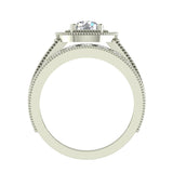 2.24 Carat Solitaire Diamond Halo And Simple Studded Shank Wedding Ring Set 14K Gold (I,I1) - White Gold