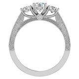 Diamond Engagement Rings for women 1.75 ctw Past Present Future Style 14K Gold (G, SI) - White Gold