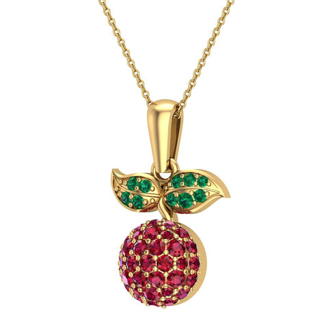 Red Garnet Dainty Cherry Charm Pendant Necklace 14k Gold 0.84 ctw - Yellow Gold