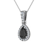 Pear Cut Black Diamond Halo Diamond Necklace 14K Gold (G,SI) - White Gold