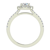 Ravishing Round Cushion Halo Diamond Wedding Ring 1.15 ctw 14K Gold (I,I1) - White Gold