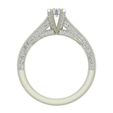 Petite Knife Edge Diamond Promise Ring 14K Gold 0.75 Ctw (I,I1) - White Gold