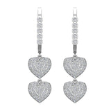 Heart Diamond Dangle Earrings Dainty Drop Style 14K Gold 1.18 ctw (I,I1) - White Gold
