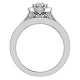 Halo with Accent Diamonds Wedding Ring Set 14K Gold(G,SI) - White Gold