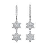 Star of David Diamond Dangle Earrings Dainty Drop Style 14K Gold 1.31 ctw (G,SI) - White Gold