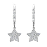 Star Diamond Dangle Earrings Dainty Drop Style 14K Gold 0.73 ctw (I,I1) - White Gold