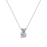 Round Brilliant Diamond Solitaire Pendant Necklace in 14K Gold (G,VS) - White Gold