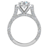 Moissanite Engagement rings 18K Gold Halo Rings for women 4.30 carat (G,VS) - White Gold