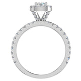 Petite Engagement rings for women Cushion Halo Round Brilliant diamond ring 14K Gold 1.05 carat (I,I1) - White Gold