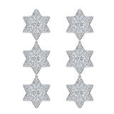 Star of David Diamond Cluster Chandelier Earrings Waterfall Style 14K Gold (I,I1) - White Gold
