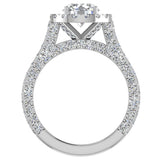 Moissanite Engagement rings 14K Gold Halo Rings for women 4.15 carat (I,I1) - White Gold