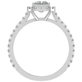 Princess Solitaire Cushion Halo Diamond Engagement Ring 1.30 ctw 14K Gold (I,I1) - White Gold