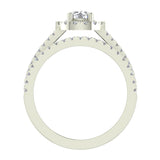 Round Cut Wedding Ring Set for Women 14K Gold Halo Bridal Rings Set Wide Shank 1.42 Ctw (I, I1) - White Gold