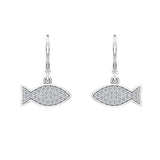 14k Fish 0.68 ct tw Pave Set Diamond Stud Earring (I,I1) - White Gold