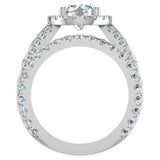 Moissanite Wedding Ring Set for Women 14K Gold Real Diamond accented Ring Channel Set 5.60 carat tw (I,I1) - White Gold