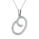 Initial Necklace O Letter charms Diamond pendant necklace 18K Gold (G,VS) - White Gold