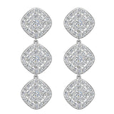 Cushion Halo Diamond Cluster Chandelier Earrings Waterfall Style 14K Gold (G,SI) - White Gold