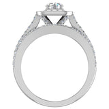 Round Cut Diamond Cushion Halo Split Shank Ring Set 14K Gold (G,VS2) - White Gold